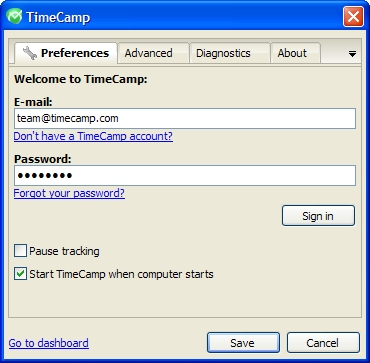 Click to view TimeCamp Data Collector 1.0.3 screenshot